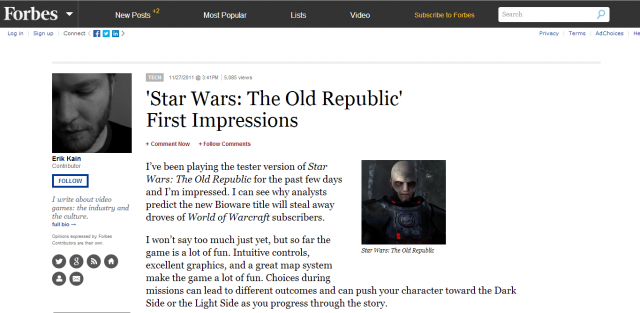 A picture of the Forbes website's first impressions of Star Wars The Old Republic
